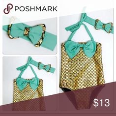 ⭐️Host Pick⭐️ Gold and Teal mermaid swimsuit Gold and teal mermaid swimsuit• size 5• ties around the neck• comes with a matching headband• have other sizes available Boutique Swim One Piece