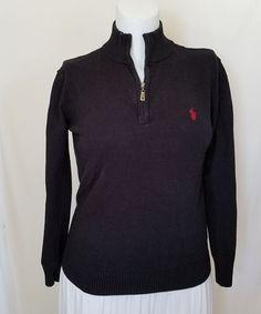Ralph Lauren Womens Sweater M Classic Fit 1/4 Zip Pony Long Sleeves Blue Cotton #RalphLauren #14Zip #Work
