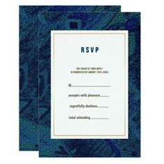 Shop Blue Floral Pattern Wedding RSVP Cards created by YourWeddingDay. Whimsical Wedding Invitations, Elegant Wedding Invitations, Wedding Invitation Cards, Bridal Shower Invitations, Wedding Stationery, Exotic Wedding, Wedding Blue, Wedding Rsvp, Wedding Anniversary