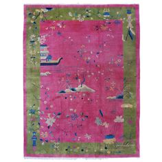 Vintage Art Deco Chinese Oriental Rug   From a unique collection of antique and modern chinese and east asian rugs at https://www.1stdibs.com/furniture/rugs-carpets/chinese-rugs/