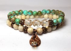 About the Bracelet A delightful union of color and art creates this beautiful artisan inspired bracelet. The stones have a soothing energy that is perfect for everyday wear. Bracelet Details: This bea