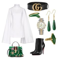 """""""My lady"""" by s-alabdulmuhsen on Polyvore featuring Jacquemus, Christian Louboutin, Gucci, Preciosa, Vintage and Rolex"""