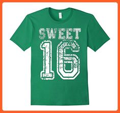 Mens 16th Birthday Shirt Gift Teen Sweet Sixteen 16 Varsity Crack Large Kelly Green - Birthday shirts (*Partner-Link)