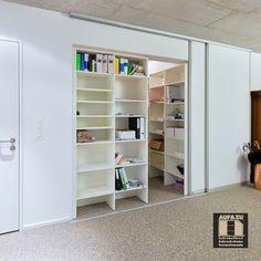 Büroablage und Archiv - gut versorgt hinter Schiebetüren Shelving, Home Decor, Panel Room Divider, Archive, Closet, Shelves, Decoration Home, Room Decor, Shelving Units