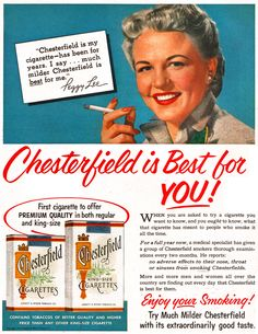 Celebrity Endorsements - Peggy Lee/Chesterfield 1953