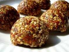 "HEMP SEED TRUFFLES | A ""power"" energy truffle with loads of protein and a pleasantly sweet, nutty flavor. Build up your amino acids with hemp seeds and goji berries, while sesame seeds provide extra calcium and walnuts nourish the brain with precious omega 3's."