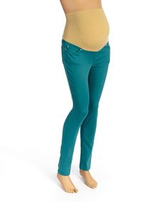 Take a look at this Teal Over-Belly Maternity Skinny Jeans today!
