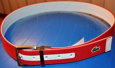 Mens Reversible Belt Leather Canvas Red White