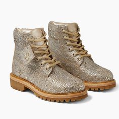 Timberland and Jimmy Choo Collaborated on Sparkly Boots Timberlands Shoes, Timberland Boots, Golden Mix, Next Shoes, Yellow Boots, Suede Boots, Jimmy Choo, Me Too Shoes, Hiking Boots