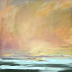 "Saatchi Art Artist Karen A Iglehart; Painting, ""Golden Sky # 1, abstract landscape"" #art"