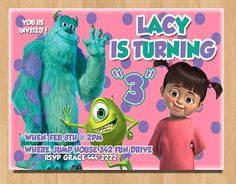 Monsters inc invitation boo costume party monsters inc invite jaycie this is fun minus the s around the number monsters inc birthday invitations printable by yourchoicedesigns filmwisefo