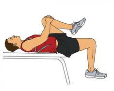 Thomas test for tight hip flexors. If the hip flexors are tight, the pelvis will go into a posterior tilt as the patient pulls the knee to the chest.