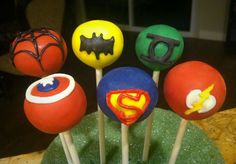 Super Hero Cake Pops  www.messyjessiestreats.com