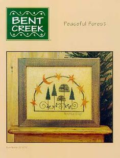 I like the arc of stars and crescent moon forming a frame - - - Schema punto croce Peaceful Forest 01