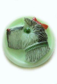 Vintage Glass Cutie Scotty Dog Button