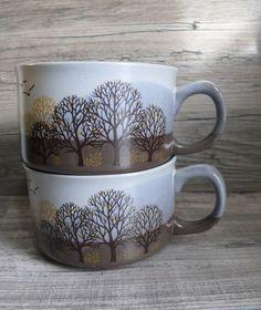 Two Otagiri Stoneware Soup Bowls with Handle Nature Scene of Trees & Birds Mugs #Otagiri $15.99