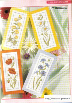 Six floral bookmark charts (and lots more cards for all occassions if you have time to browse)
