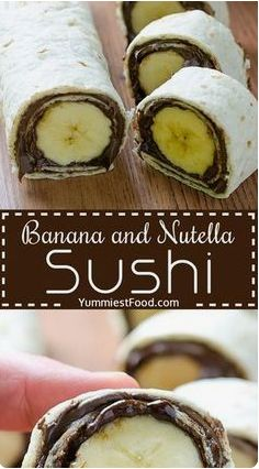 Banana and Nutella Sushi - Food Yummy Nutella Brownies, Nutella Rolls, Sushi Take Out, Sushi For Kids, Sushi Cake, Sushi Party, Sushi Food, Healthy Sushi, Tortillas