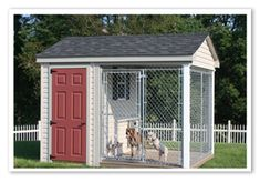 Charming little run, quaint little attached shelter for supplies!  Wow...this could match your house!  Great place for giving dogs some fresh air!