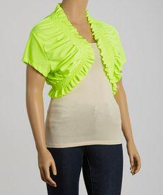 Look at this #zulilyfind! Lime Shirred Cape-Sleeve Shrug - Plus #zulilyfinds