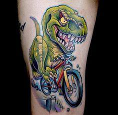Dinosaur-Riding-Green-Bicycle-Tattoo-On-Bicep.jpg (960×937)