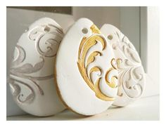 Golden Easter Egg. French Decoration, White Ceramic, Gold Painted.