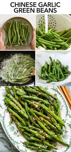 These Chinese-style garlic green beans are the perfect side dish. The green beans are flash fried, which gently blisters the skin but keeps the center tender and lightly crisp. #vegan #chinese #garlic #greenbeans Green Bean Recipes, Side Dish Recipes, Vegetable Recipes, Asian Recipes, Vegetarian Recipes, Healthy Recipes, Broccoli Recipes, Asian Foods, Chinese Recipes