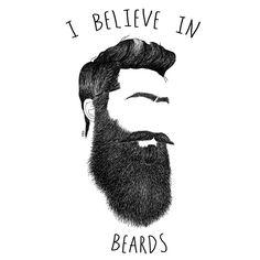 Camiseta I Belive in Beards ilustración de Hollymabuba