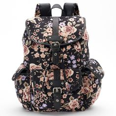 Candie's® Abigail Floral Backpack, Black ($30) ❤ liked on Polyvore featuring bags, backpacks, black, buckle backpack, draw string bag, drawstring backpack bags, draw string backpack and drawstring bag