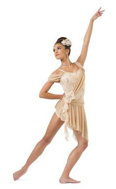 Beige hologram dot lace over beige spandex shortie unitard with attached sash and skirt. Lace pouf and tendril trim. Made in the USA. Lace pouf headpiece included