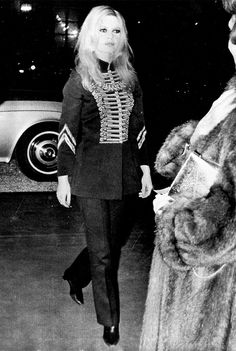 Brigitte Bardot donning a military wool coat. // #Celebrity