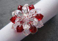 Swarovski Big Red Crystal Flower Ring PDF Tutorial