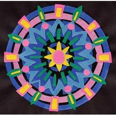 United Art and Education Art Project:  Create your own sanded paper and then cut shapes to make marvelous mandala designs!