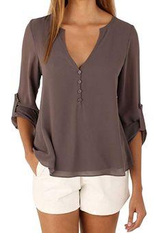 6a2bfef063f4 ZJCTUO Damen Bluse Chiffon V-Ausschnitt Langarm Casual Sommer Shirts Tunika  Übergroße Gebunden Ärmel Frauen