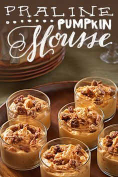 Pop these pretty Praline Pumpkin Mousse cups in the fridge and you're just 4 hours away from wowing your guests. Try Praline Pumpkin Mousse for your next event. Holiday Desserts, Holiday Baking, Just Desserts, Delicious Desserts, Dessert Recipes, Yummy Food, Dessert Salads, Dessert Cups, Mini Desserts