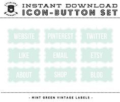 INSTANT DOWNLOAD - Set of 9 Mint Green Vintage Label Social Buttons/Icons -  for your Blog or Website