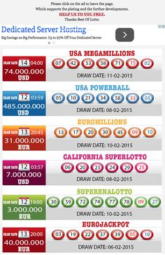 New Result available 2015.02.11 http://www.bestoflotto.com/lottery-results.html