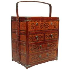 Vintage Chinese Chest ($495) ❤ liked on Polyvore featuring home, home decor, small item storage, baskets, bamboo home decor, lidded basket, sewing basket, bamboo basket and reed basket