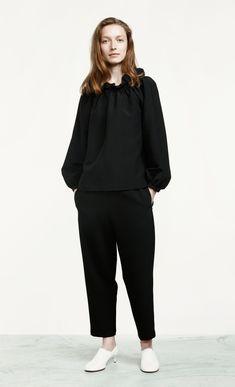 Black on black. Elena trousers by Marimekko.