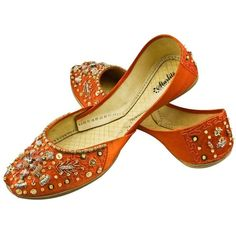 Womens Orange Evening Dress Beaded Indian Leather Khussa Shoes PumpsUK... ($31) ❤ liked on Polyvore featuring shoes, flats, orange flats, genuine leather shoes, flat pumps, real leather shoes and beaded shoes