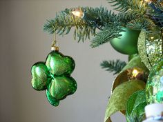 Irish Shamrock Christmas Ornament hanging on tree