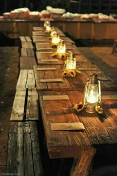 Simple picnic tables for wedding