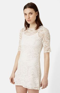 Free shipping and returns on Topshop Crochet Tunic Dress at Nordstrom.com. An openwork crochet dress in angelic white creates a quintessential flower-child look.