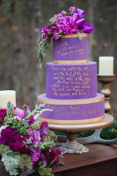 wedding cake with text - photo by Casey Hendrickson Photography http://ruffledblog.com/plum-winter-wedding-inspiration #weddingcake #cakes