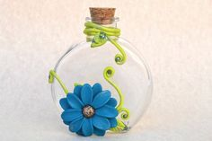 Items similar to Sculpted Flowers - Flower Vase - Polymer Clay Vase - Decorated Bottle - Clay Flowers - Embellished Bottle - Fantasy Bottle - Flower Decor on Etsy Bottle Painting, Bottle Art, Bottle Crafts, Bottle Lamps, Vase Crafts, Painted Wine Bottles, Glass Bottles, Decorated Bottles, Polymer Clay Flowers