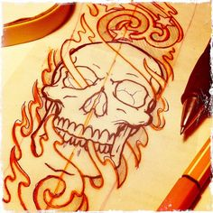 Sketchin' (Luxembourg,Luxembourg 2011)   #skull #flames #fire #stars #tattoo #sketch #luxembourg #2011