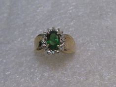 14kt Solid Gold Emerald Halo Ring, 16 Diamonds, Sz. 6, signed K.T., Oval, Wide #KT #Halo