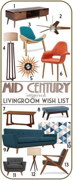 Mid century modern inspired living room furniture moodboard. More economical option to buying original mid century pieces - good place to start while I search for original 1950s and 1960s gems!