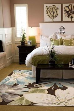 Bedroom color scheme - browns, tans, and white with hints of blues and greens. Love that rug too!!