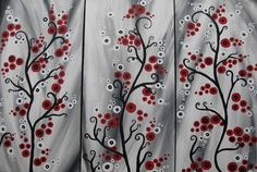 triptych trees abstract art red gray grey black white 3 canvases three painting panels wall paintings
